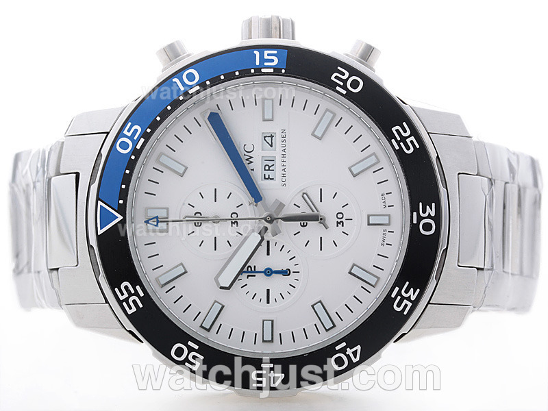 Replica Iwc Aquatimer Working With White Dial Blue/black Bezel S/s Watch