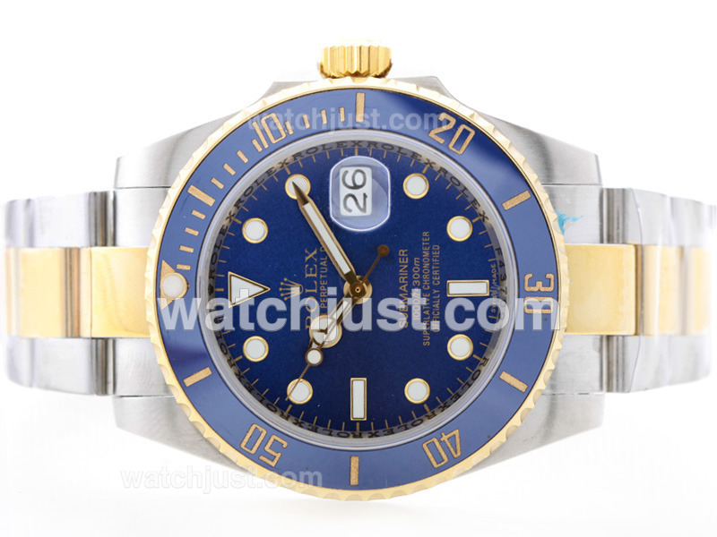 Replica Rolex Submariner Automatic 18k Gold Plated Two Tone With Blue Dial Blue Ceramic Bezel Watch