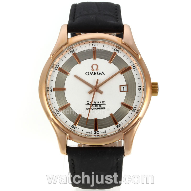 Replica Omega De Ville Rose Case Rose Stick Markers With White Dial Leather Strap Watch