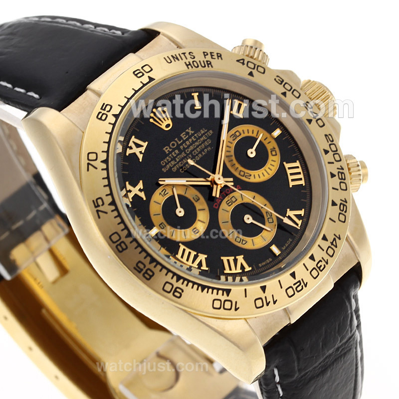 Replica Rolex Daytona Automatic Gold Case With Black Dail Roman Marking Watch