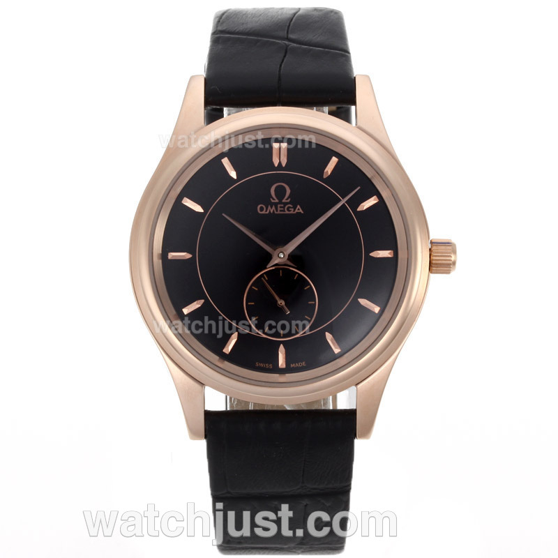 Replica Omega Classic Automatic Rose Gold Case With Black Dial 18k Plated Gold Movement Watch