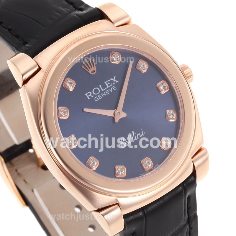 Replica Rolex Cellini Full Rose Gold Case Diamond Markers With Blue Dial Black Leather Strap Watch