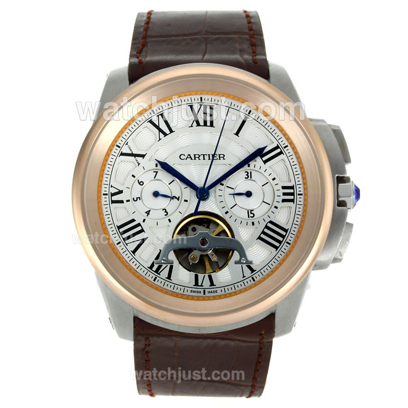 Replica Cartier Calibre De Cartier Tourbillon Automatic Two Tone With White Dial Leather Strap Watch
