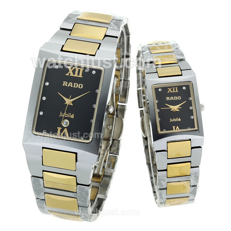 Replica Rado Sintra Super Superjubile Two Tone Diamond Markers With Black Dial Couple Watch 113372 Watch