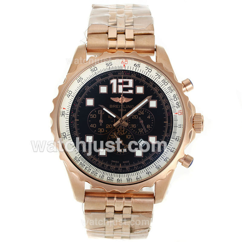 Replica Breitling Chronospace Working Full Rose Gold With Black Dial Watch