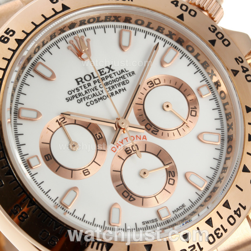 Replica Rolex Daytona Working Rose Gold Case With White Dial Leather Strap Watch