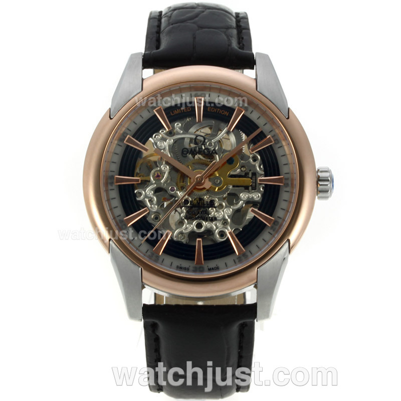 Replica Omega De Ville Limited Edition Automatic Two Tone Case With Skeleton Dial Black Leather Strap Watch