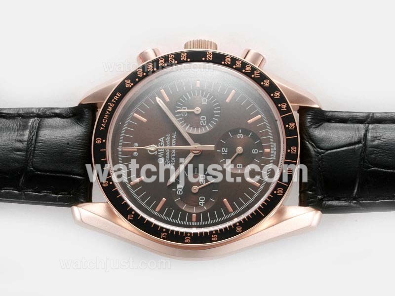 Replica Omega Speedmaster Lemania Movement With Brown Dial Full Rose Gold Case Watch