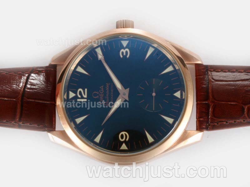 Replica Omega Seamaster Aqua Terra Railmaster Unitas 6498 Movement Rose Gold Case With Black Dial Ar Coating Watch