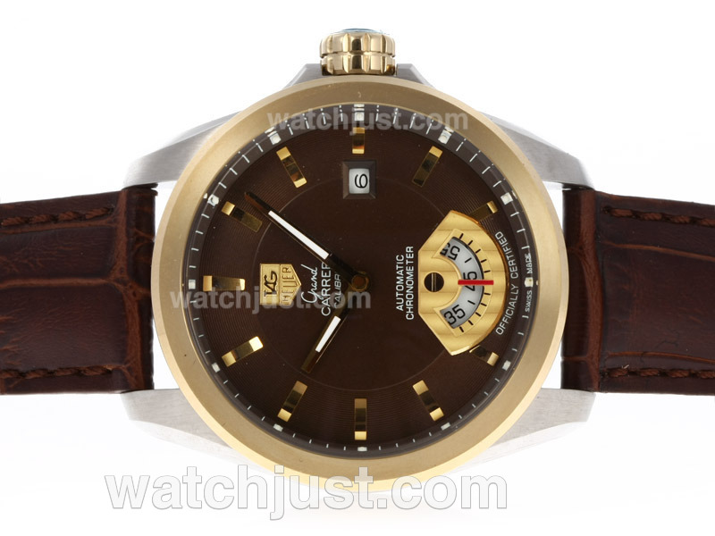 Replica Brown Dial Colors 2014 New Design Tag Heuer Replica Watches Two Tone SS YG Or SS RG 1:1 Replica Swiss Automatic