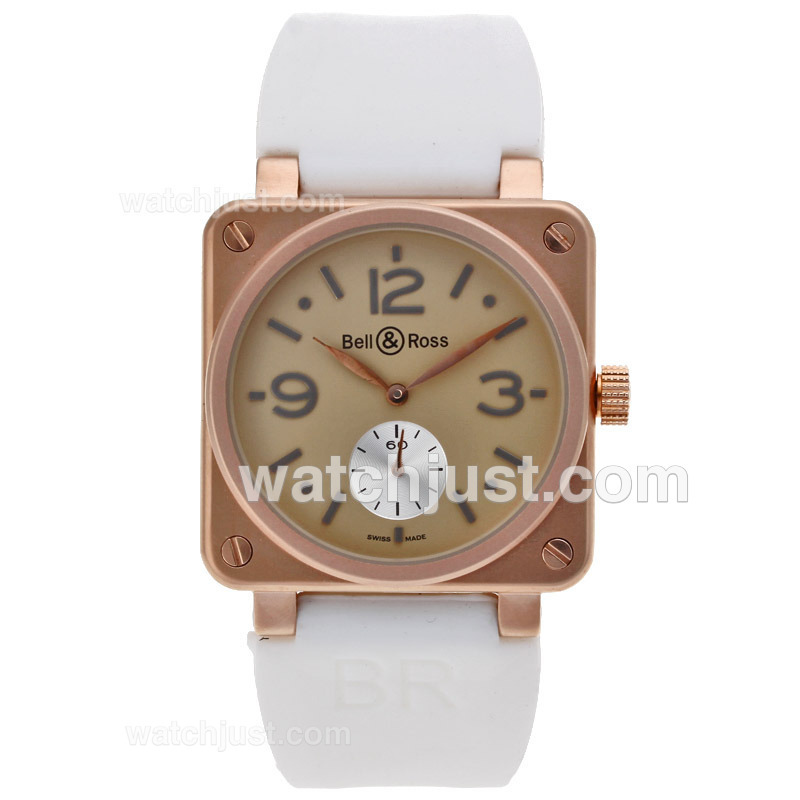 Replica Bell & Ross Br01 Rose Gold Case With Beige Dial 38x38mm Watch